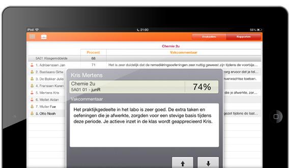 Skore puntenboek op iPad voor leerkrachten