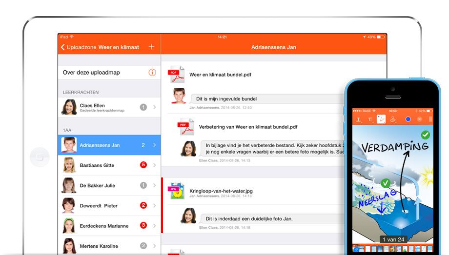 Uploadzone in Smartschool App
