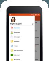 Phone with Smartschool menu
