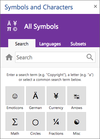 Symbols and characters