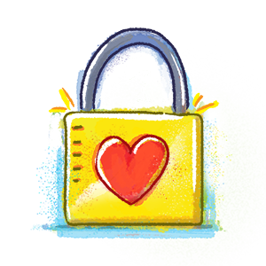 Lock with heart illustration